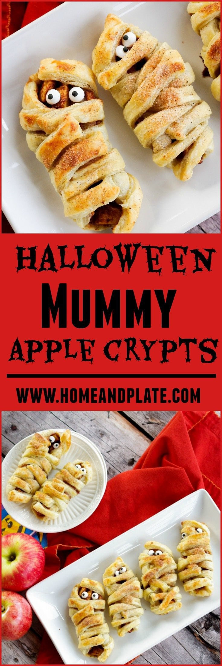 Halloween Mummy Apple Crypts | www.homeandplate.com | Turn a simple homemade apple pastry into a fun Halloween treat that
