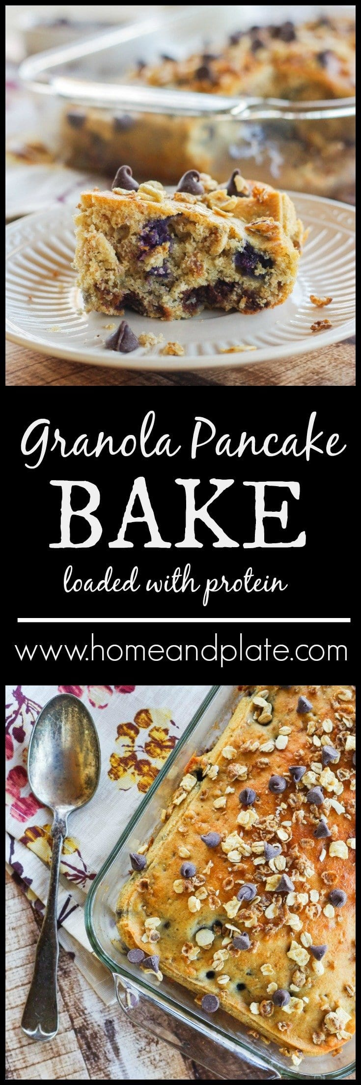 Granola Pancake Bake| www.homeandplate.com | Do you need to feed a crowd or a team of hungry athletes? Serve up my healthy protein-rich granola pancake bake for breakfast.