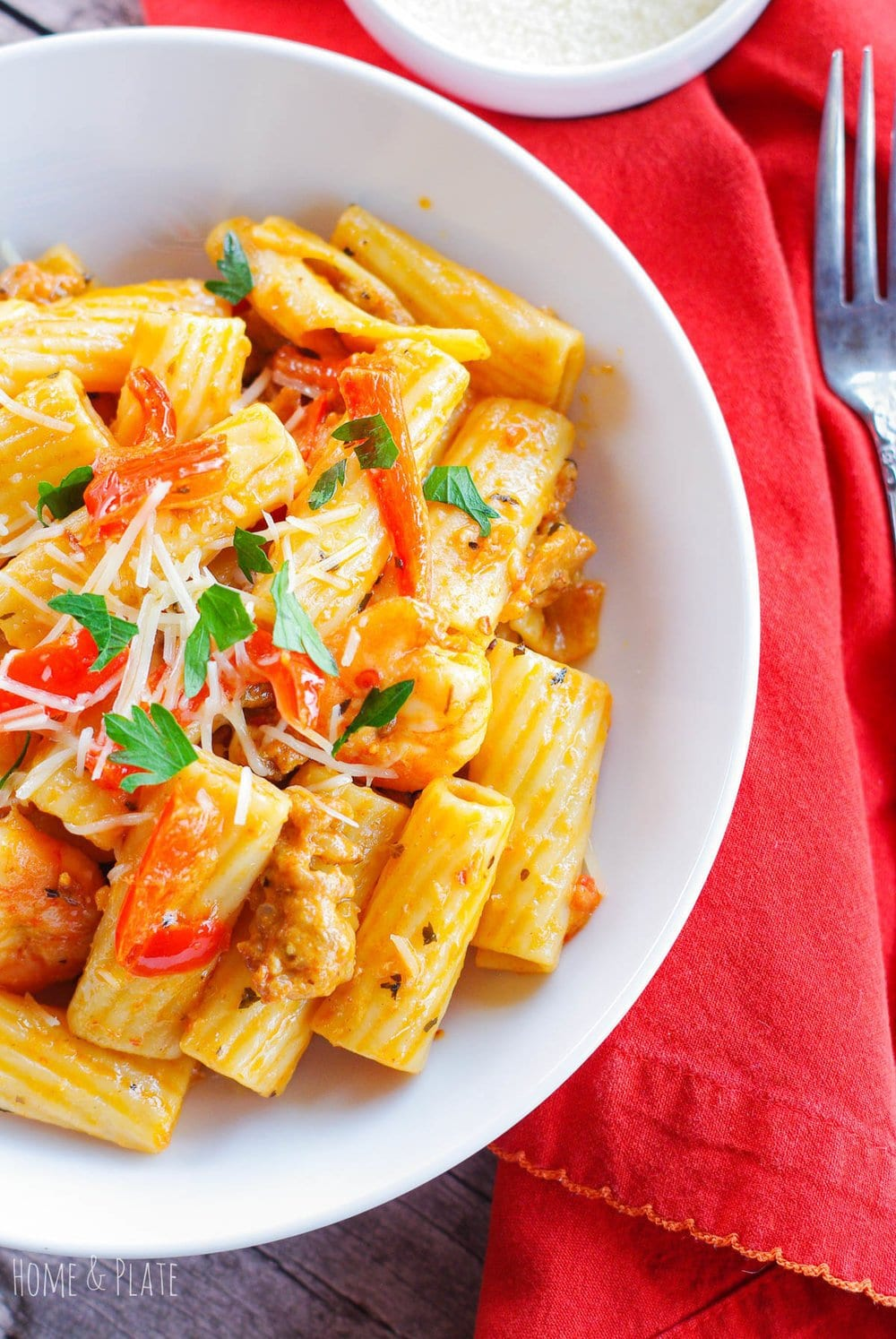 Rigatoni Pasta with Sausage and Shrimp in a Spicy Parmesan Cream Sauce