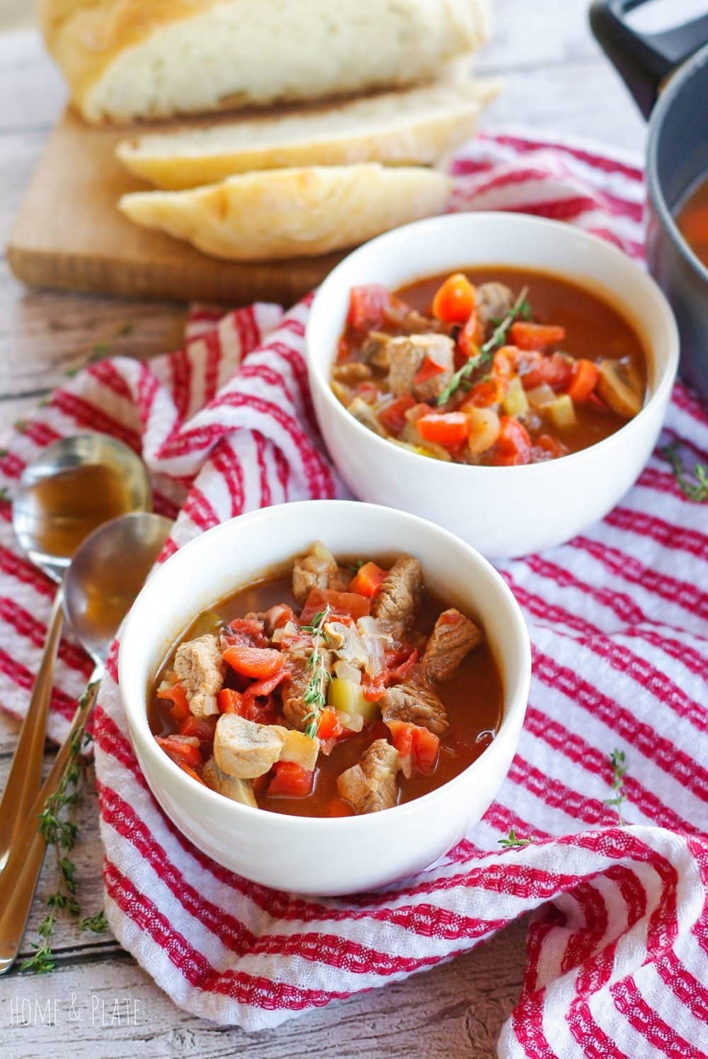 Hearty Winter Beef Stew   www.homeandplate.com   This healthy winter stew if chock full of tender beef and vegetables and can be made on the stovetop or crockpot.