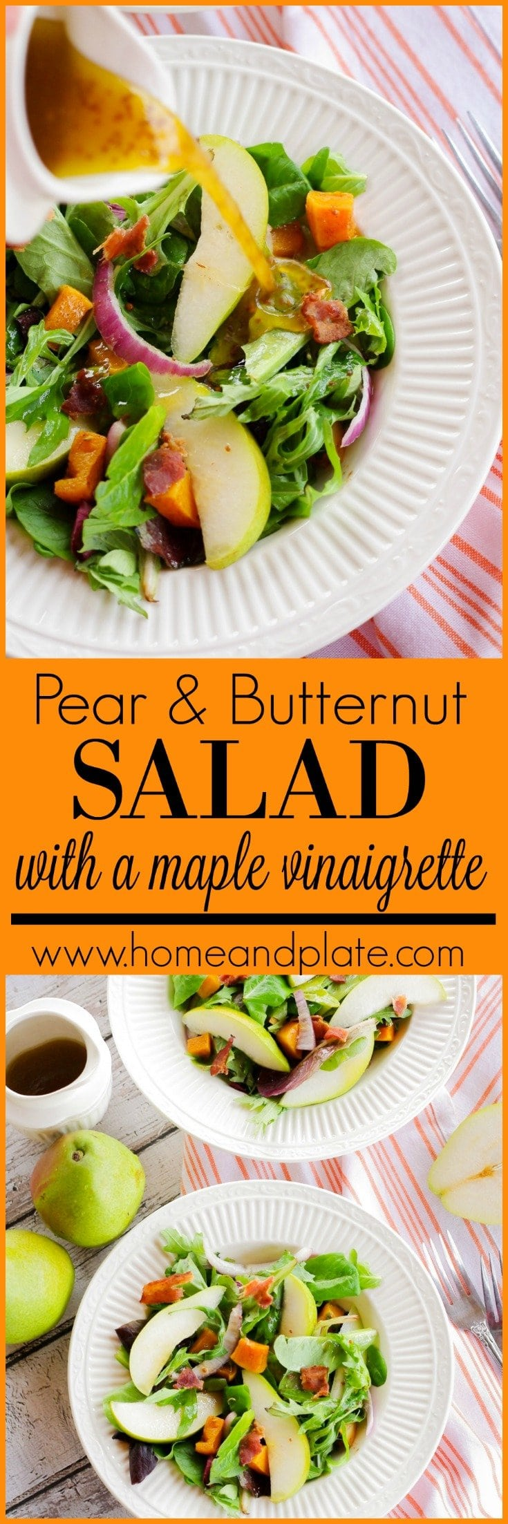Pear and Butternut Squash Salad with a Maple Balsamic Vinaigrette | www.homeandplate.com |This pear and butternut squash salad is a favorite winter side dish and it