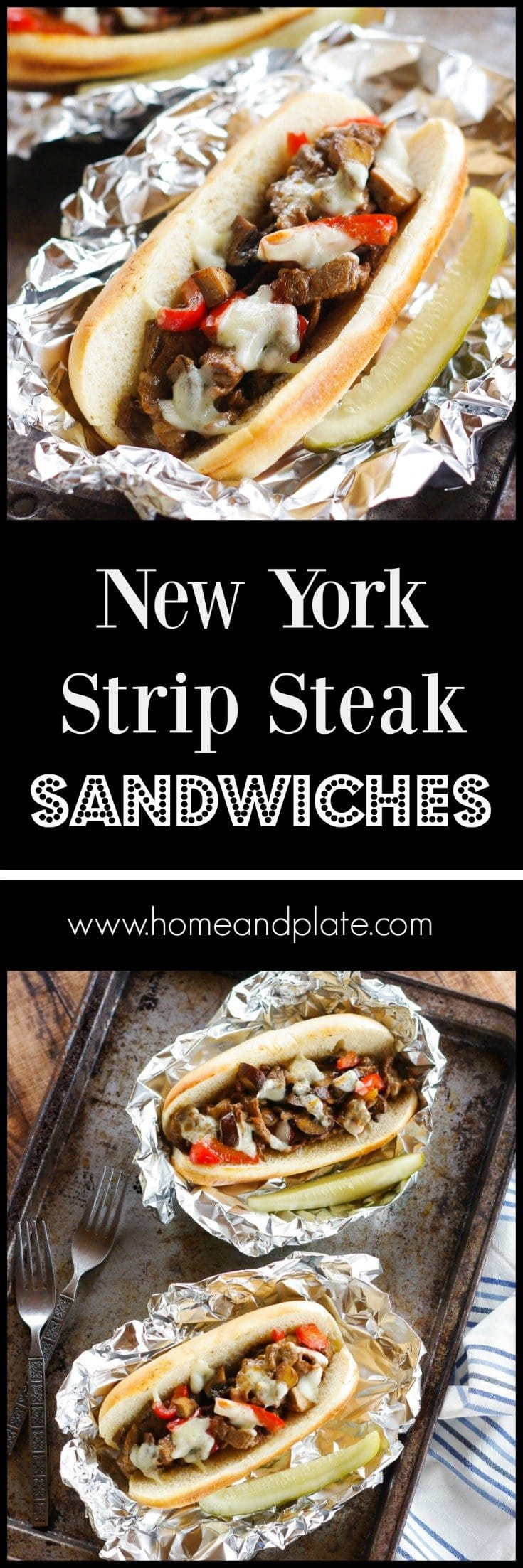 New York Strip Steak Sandwiches | www,homeandplate.com | My classic Philly cheesesteak sandwiches are cheesy and meaty and perfect on game day.