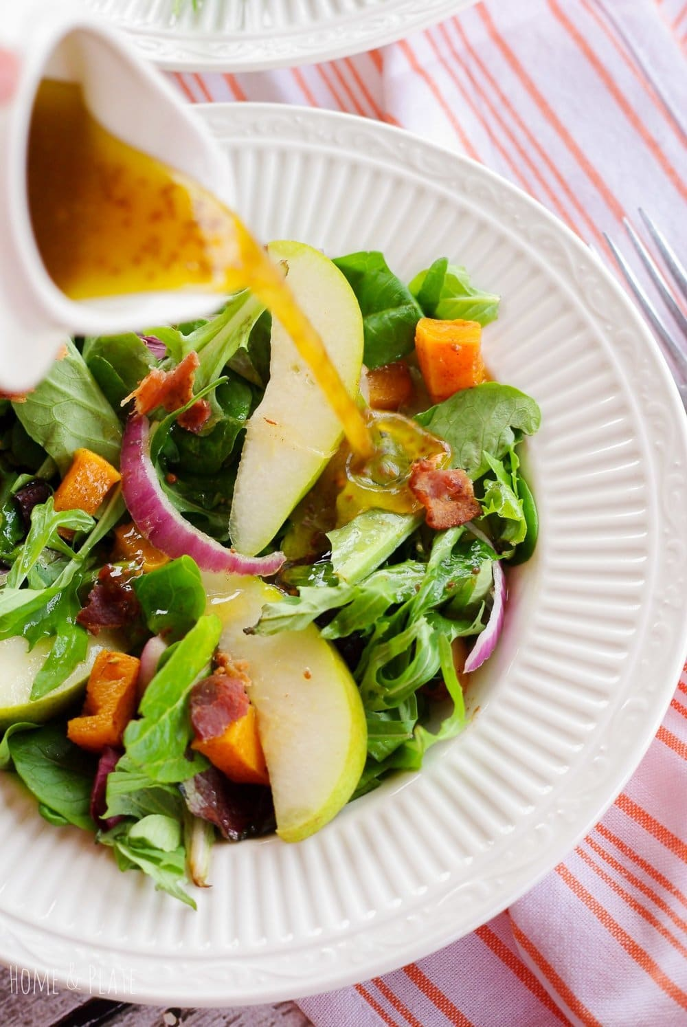 Pear and Butternut Squash Salad with a Maple Balsamic Vinaigrette
