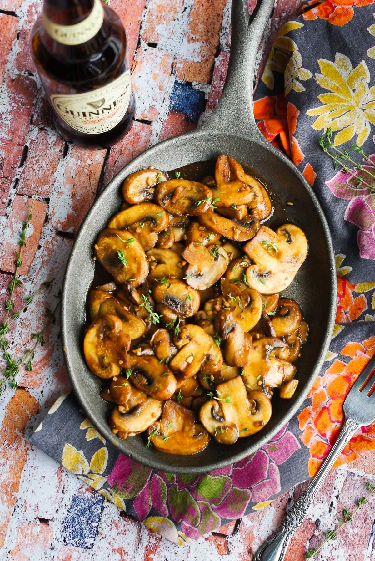 Sautéed Guinness Mushrooms | www.homeandplate.com | These sautéed mushrooms are an easy side dish for any barbecue, holiday party or everyday dinner.