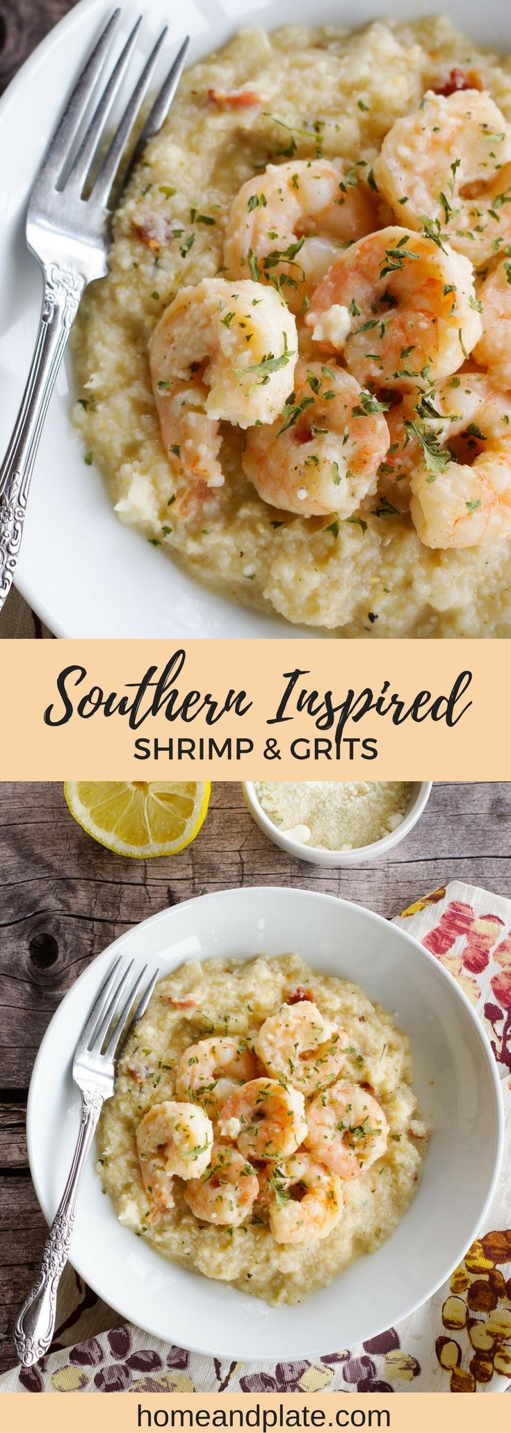 Southern-Inspired Shrimp & Grits | www.homeandplate.com | Get dinner on the table in under 30 minutes with this delicious and easy cheesy shrimp and grits.