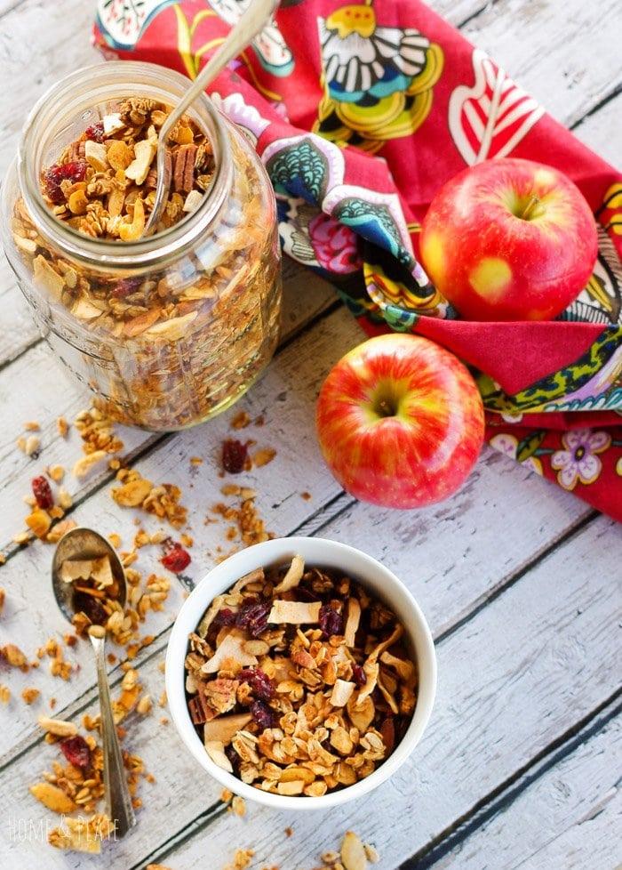 Cinnamon Apple Pie Granola   www.homeandplate.com   My Cinnamon Apple Pie Granola the perfect healthy breakfast. It