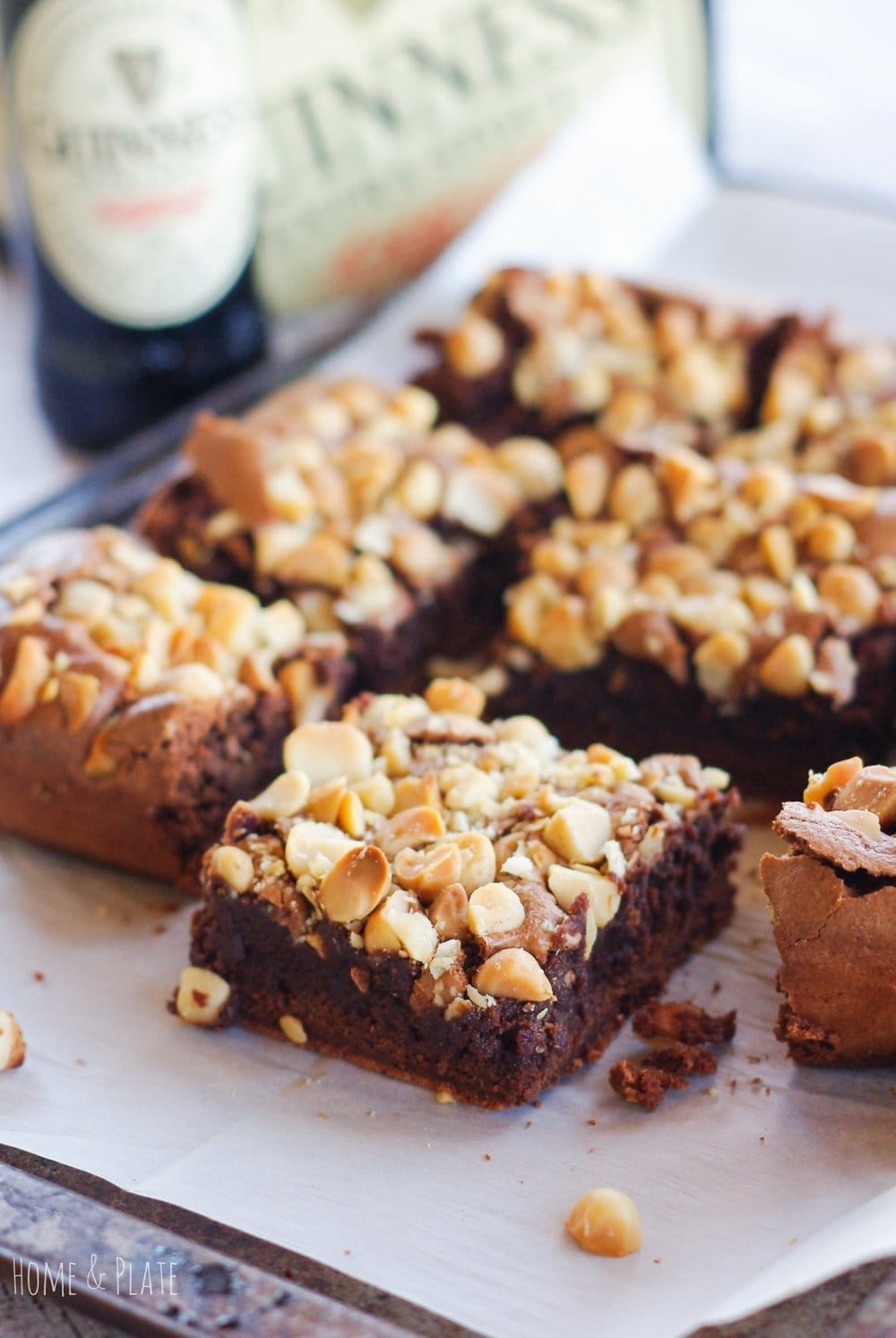 Guinness Brownies with Hazelnuts