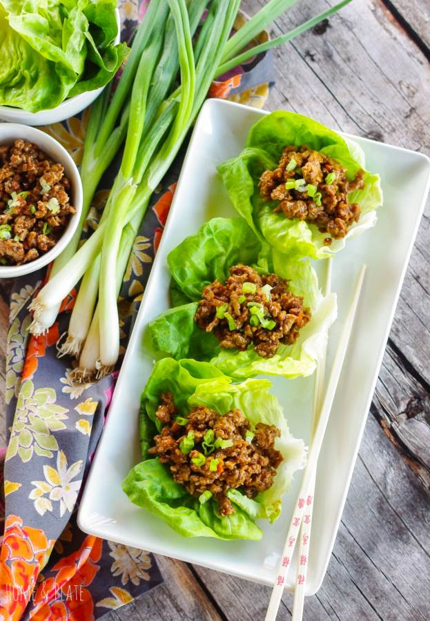 Plate of three Copycat PF Changs Lettuce Wraps