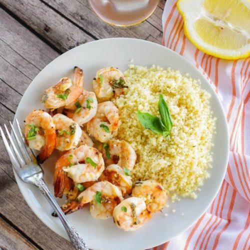 Lemon Basil Grilled Shrimp and Couscous