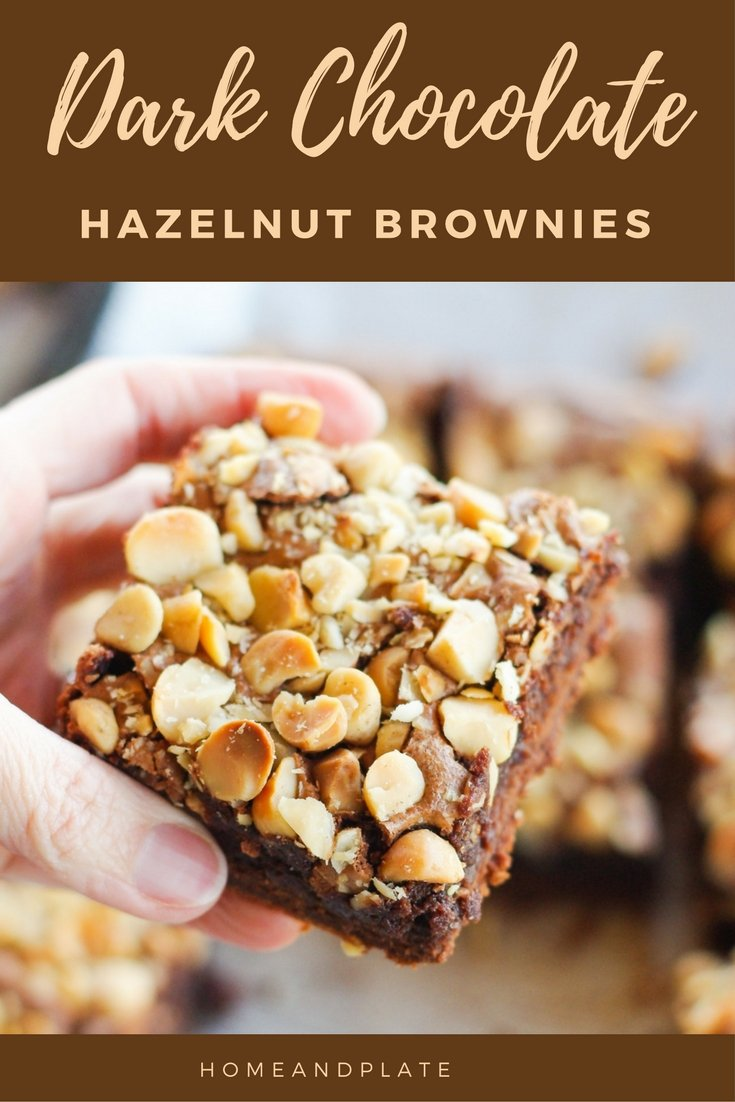 Dark Chocolate Hazelnut Brownies | www.homeandplate.com | These Dark Chocolate Hazelnut Brownies are delicious any day of the year not just St. Patrick
