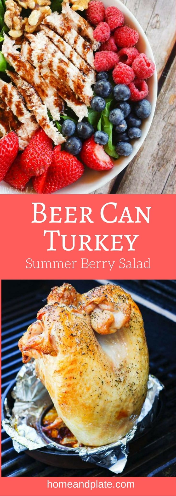 #Ad | Beer Can Turkey Summer Berry Salad | www.homeandplate.com | Fresh sweet summer berries are paired with succulent grilled turkey and served with a drizzle of blackberry balsamic vinaigrette. There