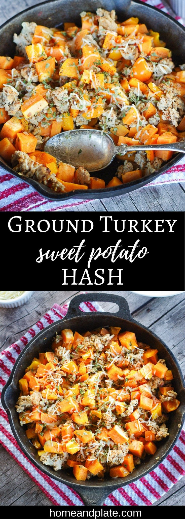 Ground Turkey Sweet Potato Hash | From skillet to plate in 30 minutes, this easy ground turkey and sweet potato hash is the ideal dish for a weeknight dinner or a weekend breakfast. | www.homeandplate.com | #holiday #leftovers #skilletmeal