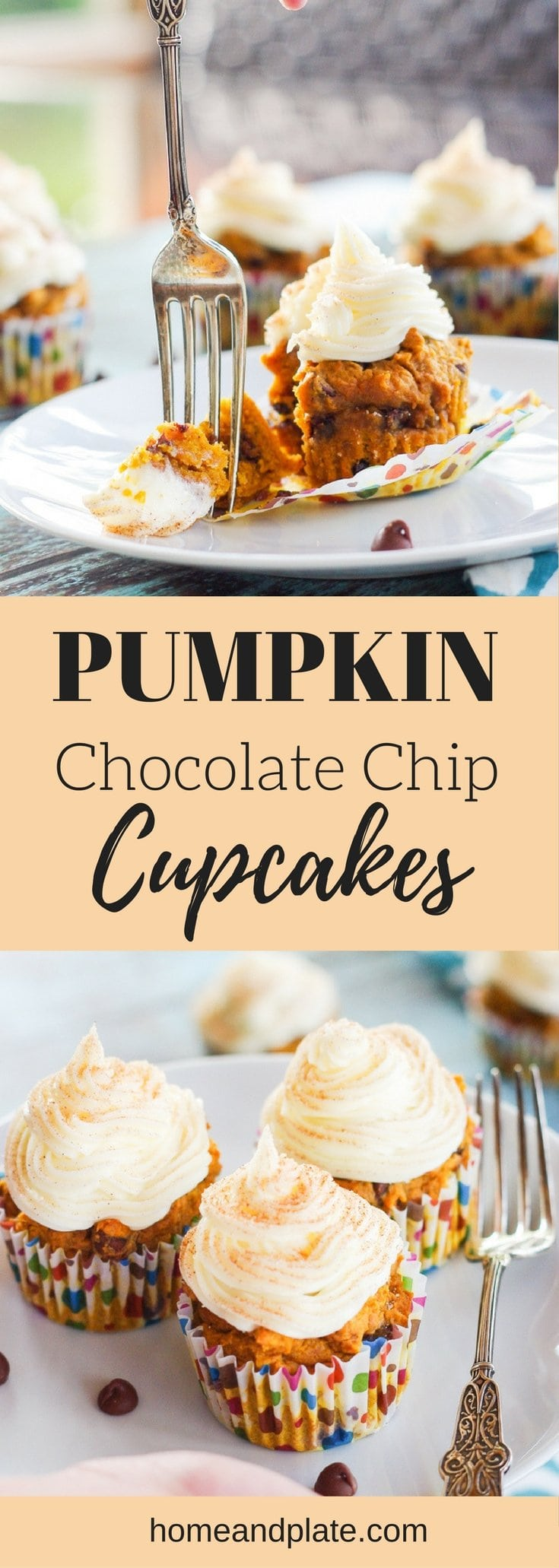 Pumpkin Chocolate Chip Cupcakes | Delicious for fall, these moist and sweet pumpkin cupcakes are sprinkled with chocolate chips and topped with cream cheese frosting. | www.homeandplate.com