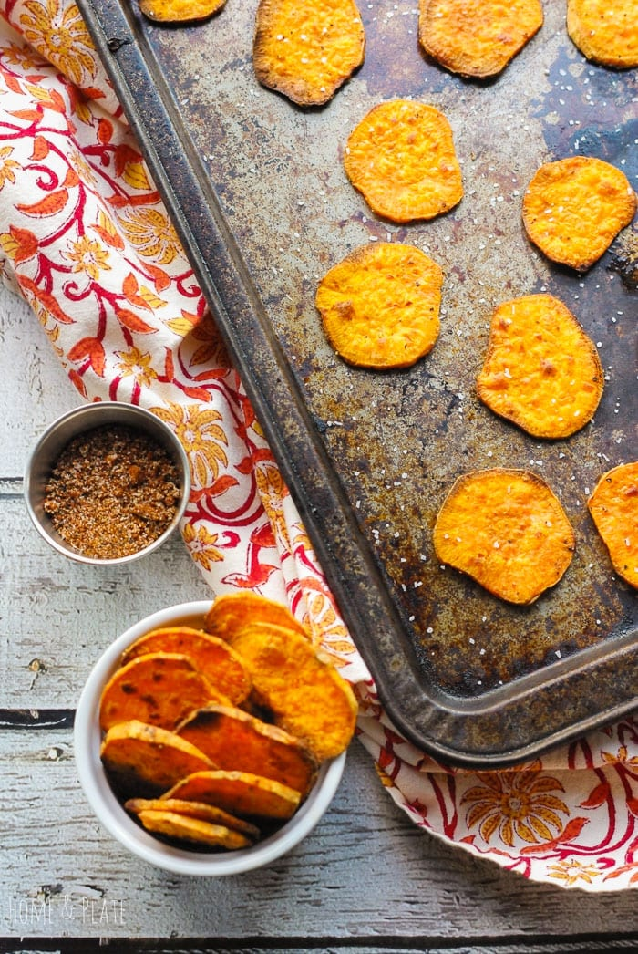 Baked BBQ Sweet Potato Chips - Home and Plate