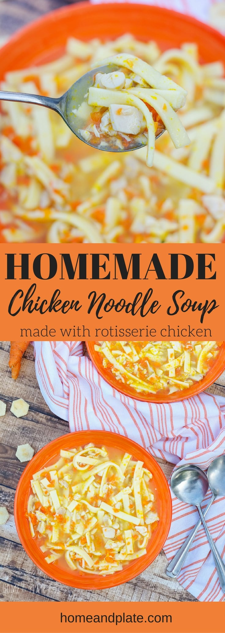 Homemade Chicken Noodle Soup | www.homeandplate.com | Whip up this easy homemade chicken noodle soup in under 30 minutes using rotisserie chicken and bone broth.