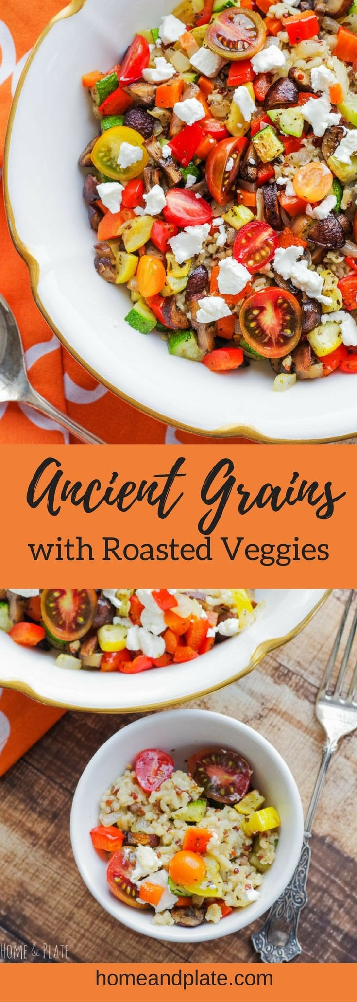 #ad   Ancient Grains Salad with Roasted Vegetables   www.homeandplate.com   Start the new year off right with roasted vegetables, mild sorghum, protein- packed quinoa and whole grain brown rice tossed with goat cheese for a vegetarian dish that is nutritious and full of flavor.