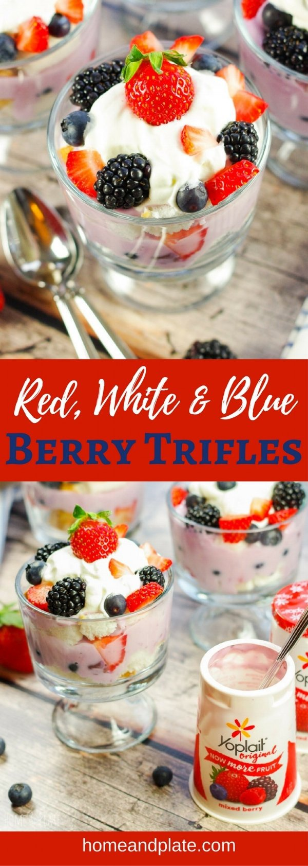 Red, White & Blue Trifle | This easy no-bake layered trifle is made with mixed berry yogurt, fresh fruit and angel food cake. Enjoy a dessert that is creamy, light and sweet any time of year. | www.homeandplate.com | @yoplait