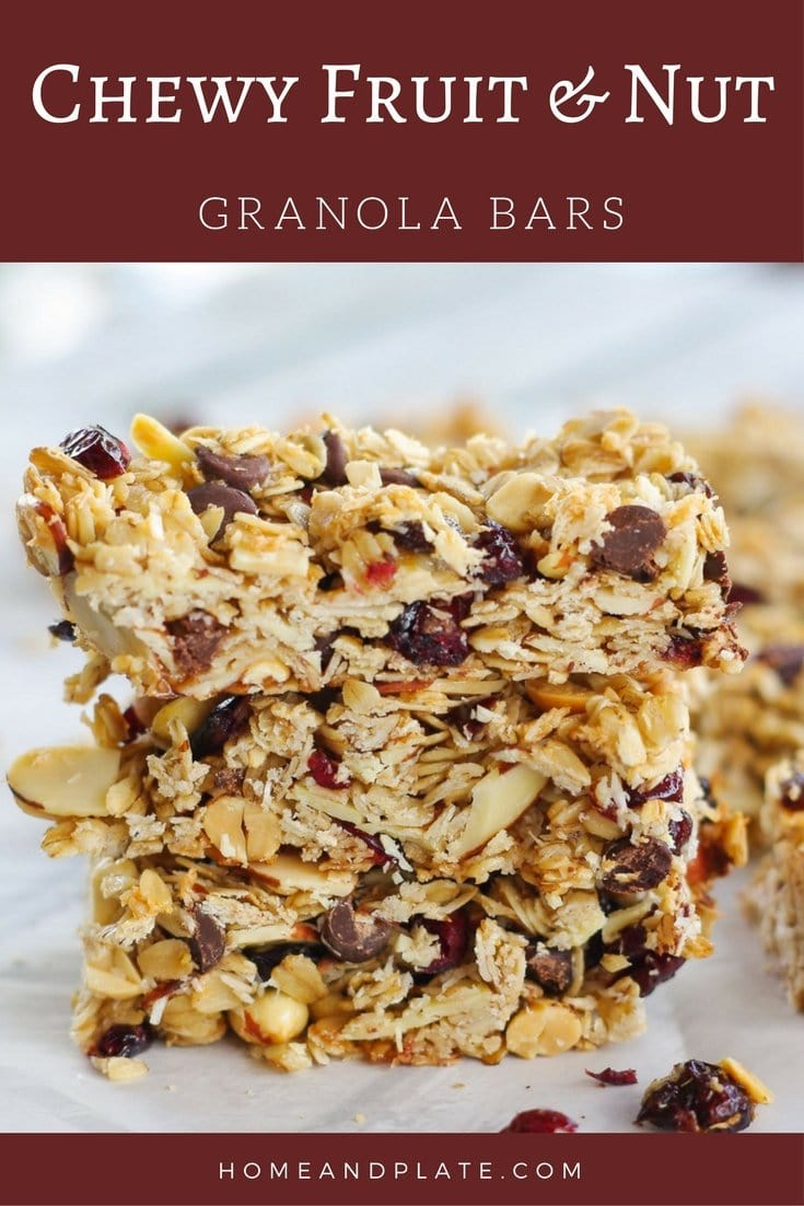 Chewy Fruit & Nut Granola Bars | www.homeandplate.com | Chewy Fruit & Nut Granola Bars made from scratch taste better and are healthier than anything store bought.