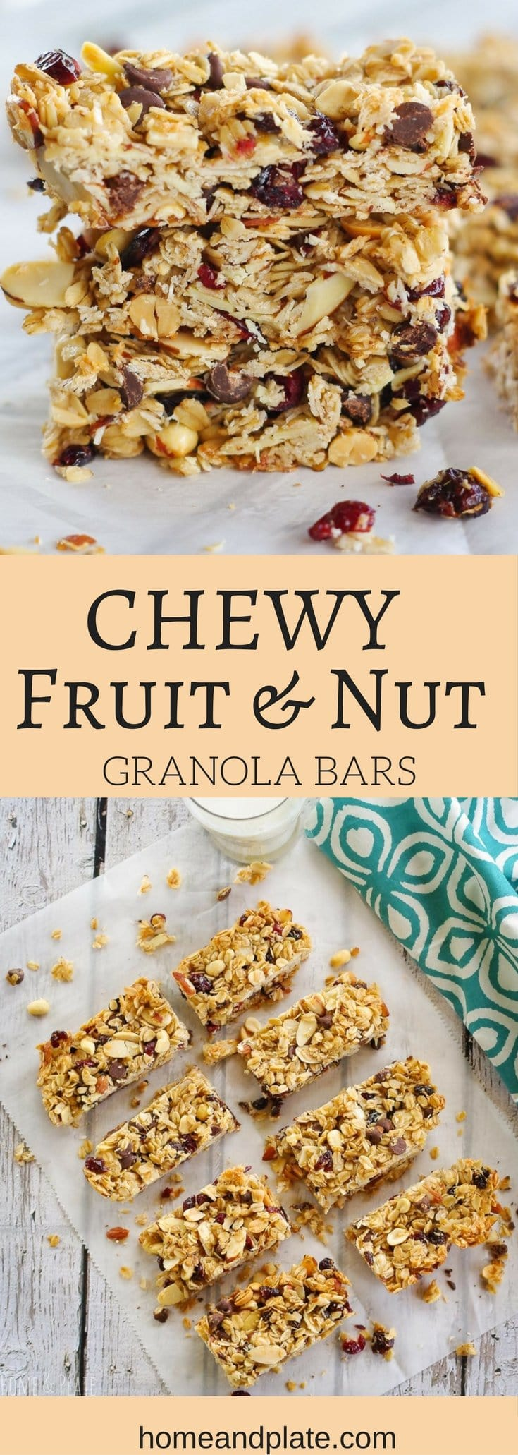 Chewy Fruit & Nut Granola Bars | www.homeandplate.com | Chewy and delicious fruit & nut granola bars are made from scratch and taste better and are healthier than anything store bought.