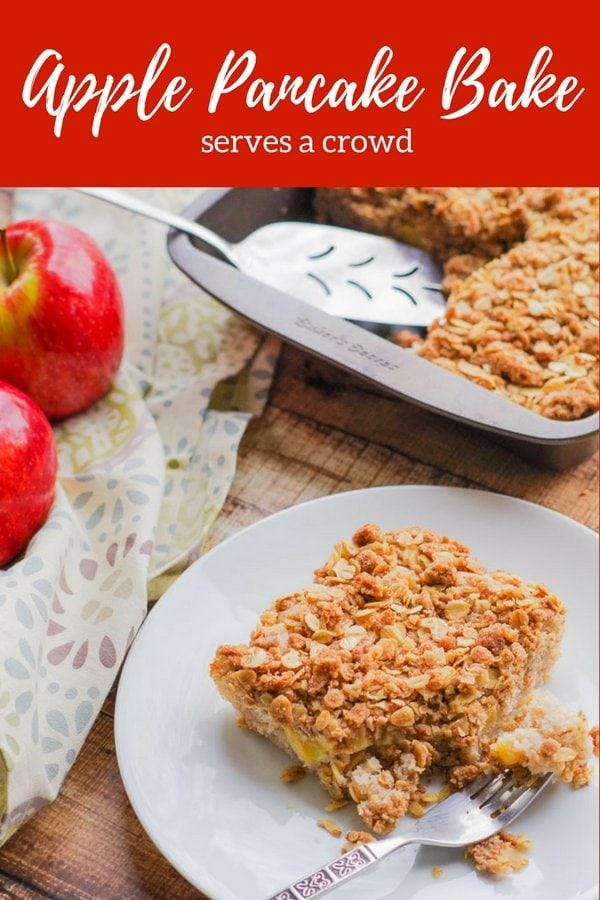 Apple Pie Pancake Casserole | www.homeandplate.com | Combine the flavors of apple pie, apple crisp and buttermilk pancakes into a delicious breakfast casserole that serves a crowd.