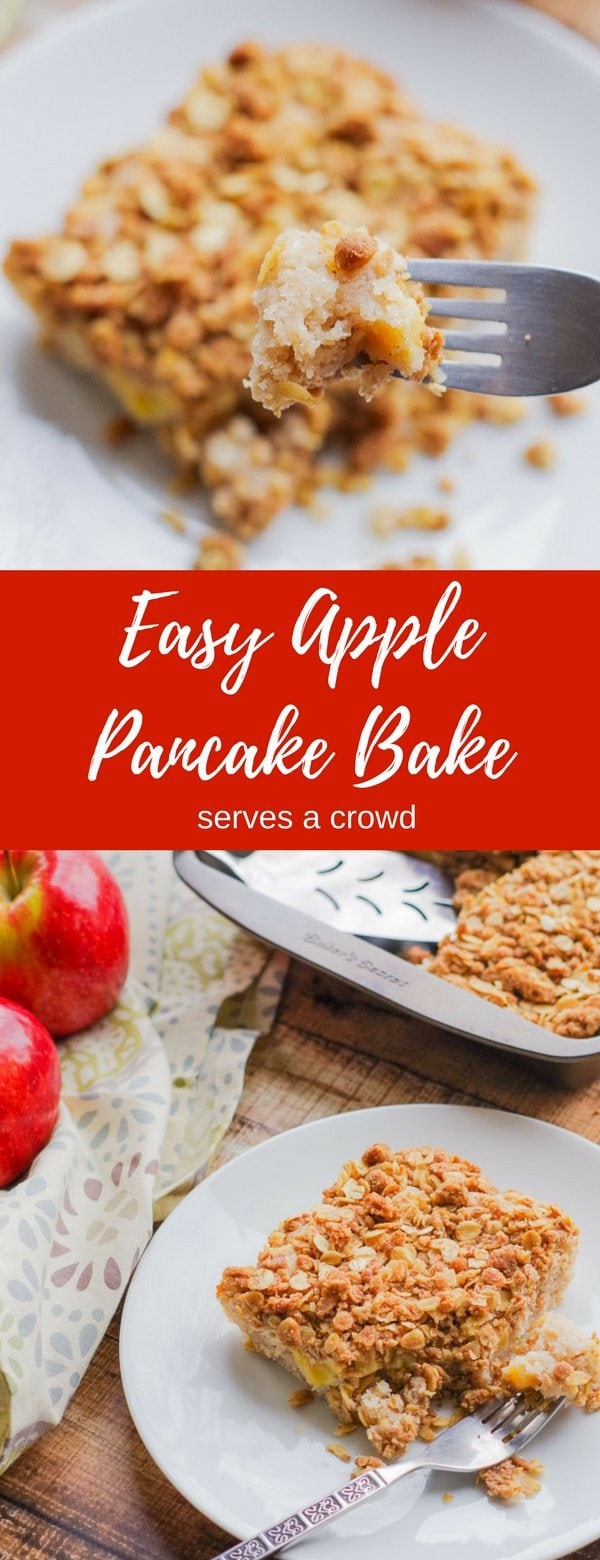 Apple Pie Pancake Casserole | www.homeandplate.com | Combine the flavors of apple pie, apple crisp and buttermilk pancakes into a delicious breakfast casserole that serves a crowd.