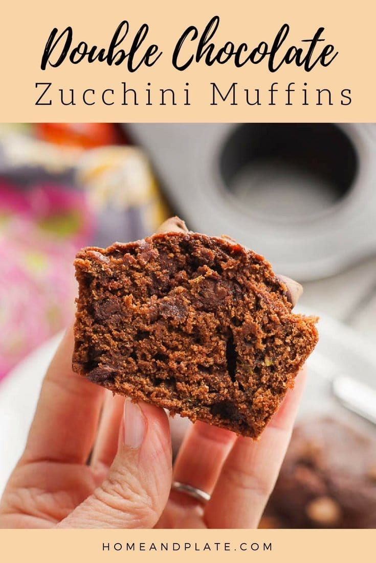 Double Chocolate Zucchini Muffins | www.homeandplate.com | Moist and delicious, these double chocolate zucchini muffins are full of fiber and whole wheat goodness. #chocolatemuffins #zucchinimuffins #healthymuffins