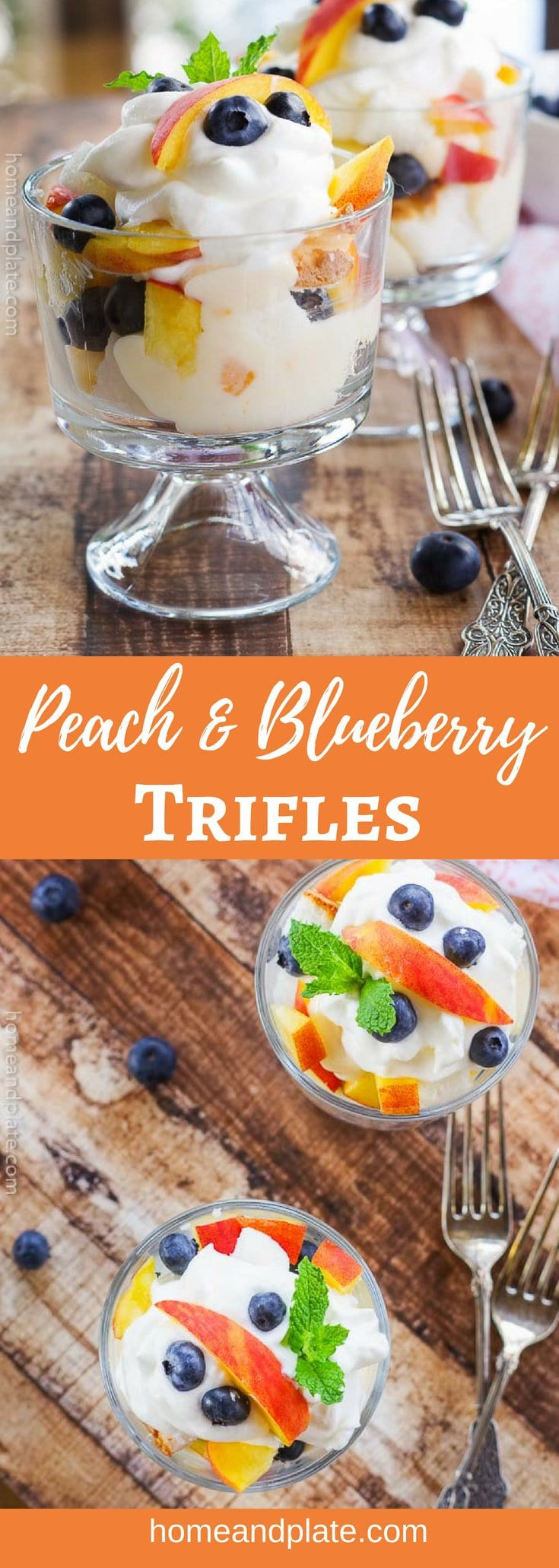 Peach & Blueberry Trifle | www.homeandplate.com | This easy no-bake dessert features summer's sweetest peaches and fresh blueberries. #trifle #peachtrifle #nobakedessert #homeandplate