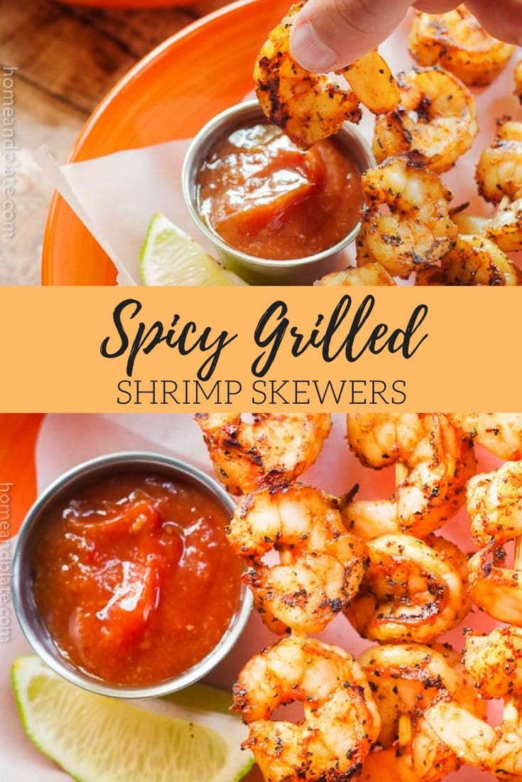 Spicy Grilled Shrimp Skewers | Grilled spicy shrimp skewers on the barbecue are the perfect midweek meal when you