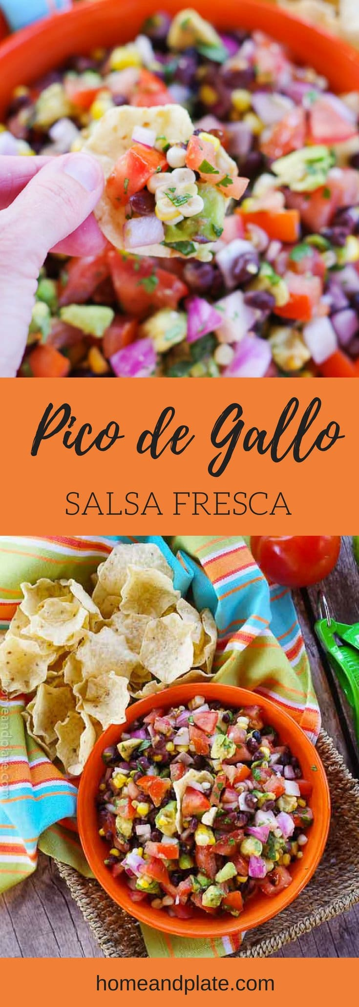 Pico de Gallo - Salsa Fresca | Homegrown tomatoes, sweet corn kernels, black beans, avocado, cilantro and lime juice is all you need to make the freshest salsa. This pico de gallo - salsa fresca - taste great with chips and on all your favorite Mexican dishes. #picodegallo #salsa #salsafresca