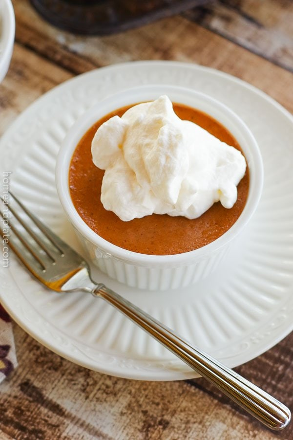 Crustless Pumpkin Pies with Bourbon Maple Whipped Cream