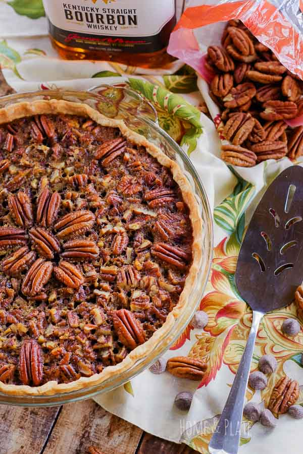 Chocolate Bourbon Pecan Pie | Easy to make in under an hour, this pie is elegant and features a decorative center of pecans.