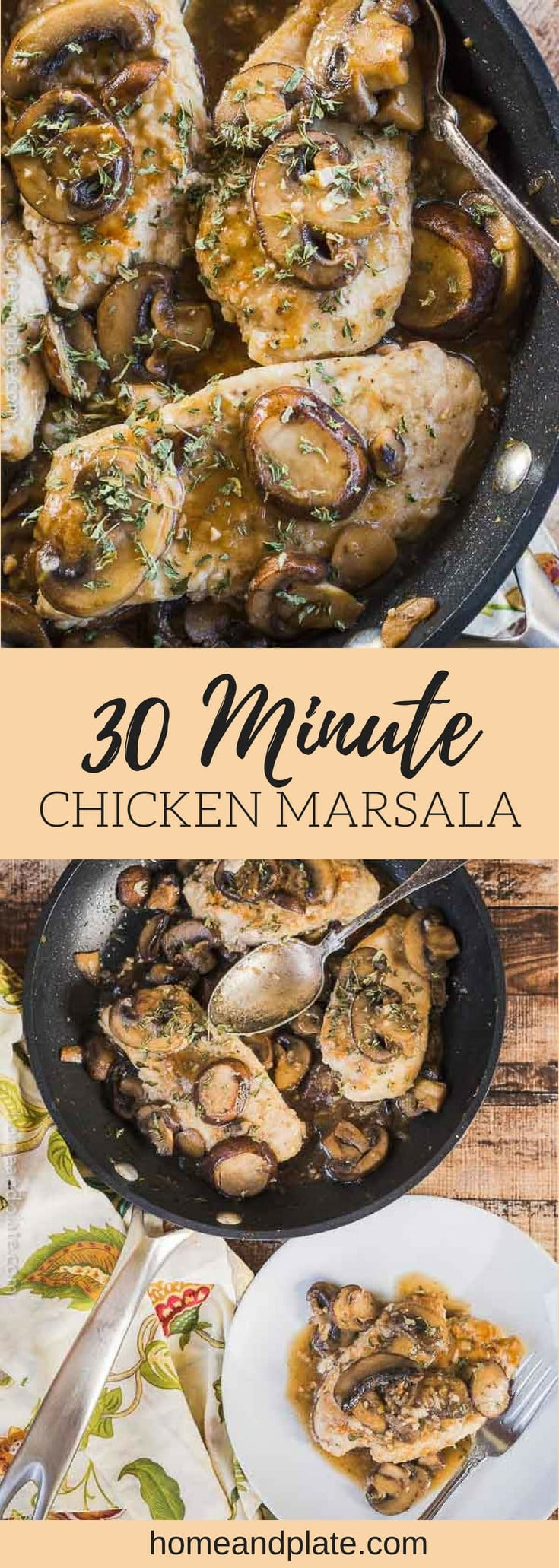Easy 30 Minute Chicken Marsala   This easy chicken marsala is my go-to dish for a midweek meal and it can be whipped up in under 30 minutes. #chickenmarsala #skilletchicken #chickenwithmushrooms