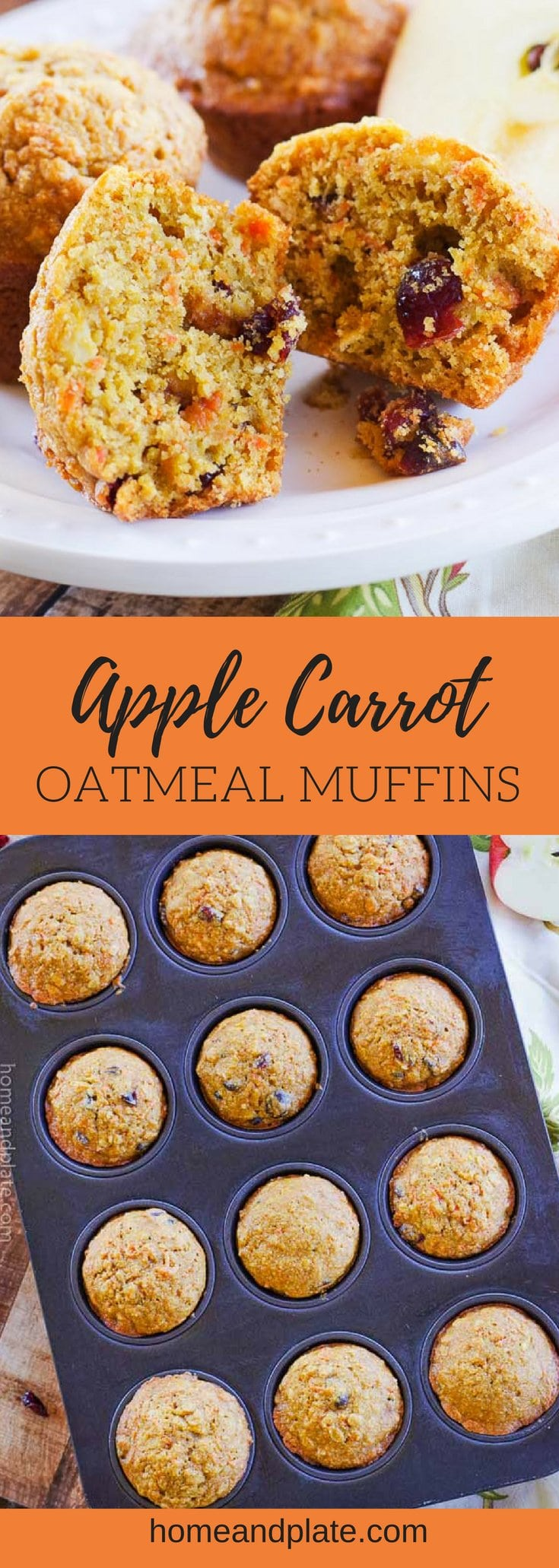 Apple Carrot Oatmeal Muffins | Soft and full of flavor, these apple carrot oatmeal muffins {a.k.a. morning glory muffins} feature whole wheat goodness to start your day. #muffins #morningglorymuffins #applecarrotoatmealmuffins #healthymuffins #homeandplate