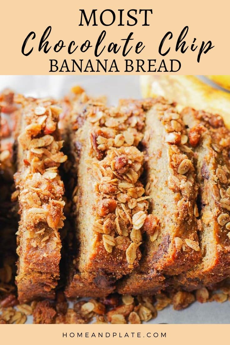 Moist Chocolate Chip Banana Bread With A Pecan Cinnamon Topping