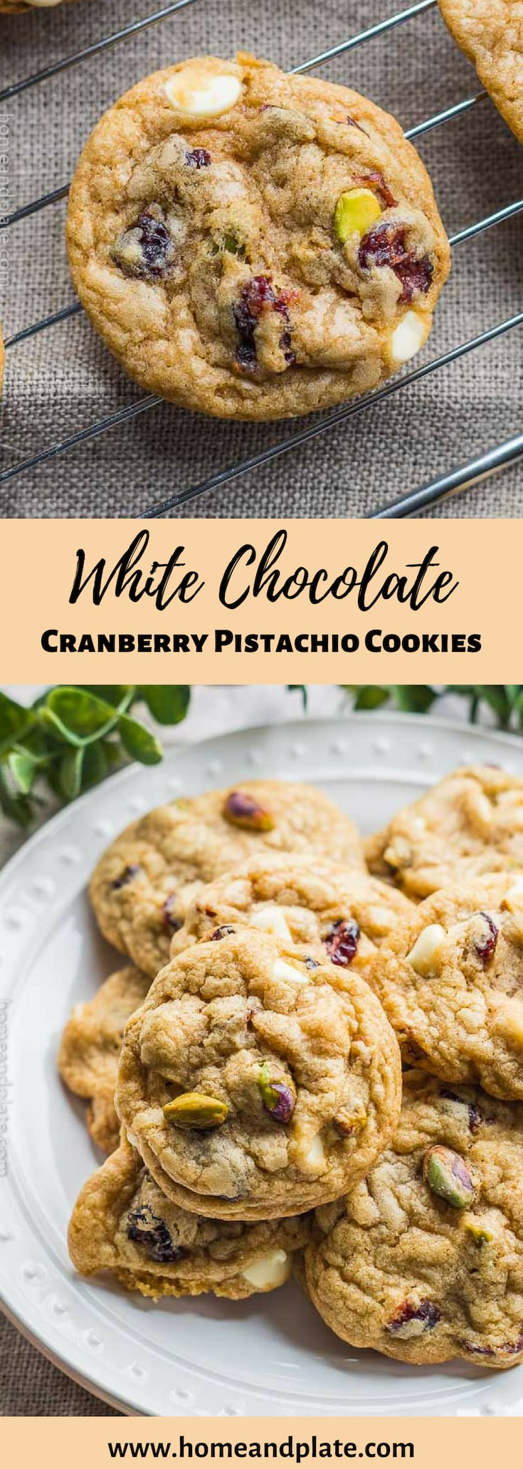 White Chocolate Cranberry Pistachio Cookies | Crispy along the edges and chewy in the center, these white chocolate cranberry pistachio cookies are perfect for the holidays. #christmascookies #pistachiocookies #cranberrywhitechocolatecookies #cranberrypistachiocookies