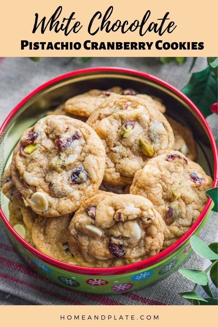 White Chocolate Cranberry Pistachio Cookies   Crispy along the edges and chewy in the center, these white chocolate cranberry pistachio cookies are perfect for the holidays.