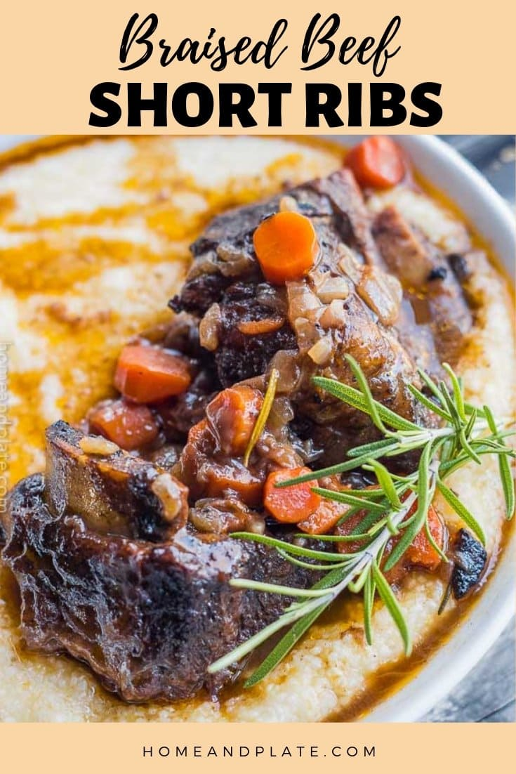 Braised Beef Short Ribs | Fall off the bone tender and delicious, these oven braised beef short ribs are cooked in a rich gravy and are so easy to make. #sponsored