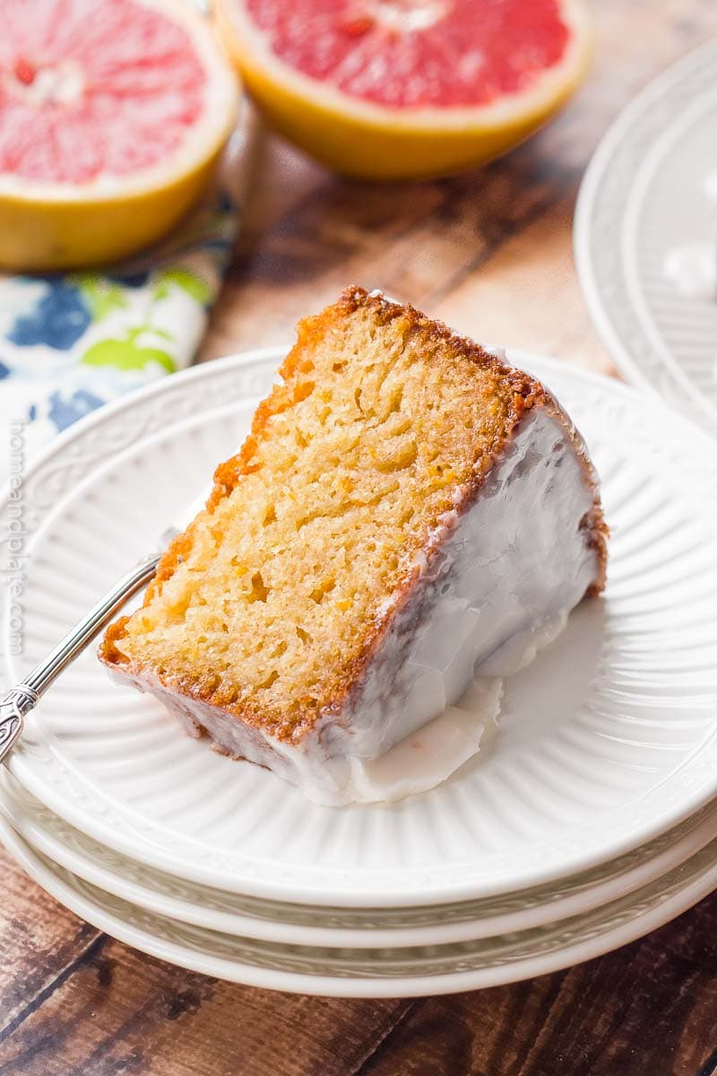 close up view of Grapefruit Pound Cake slice on white plate