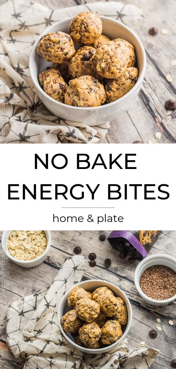 White bowl with energy bites, below words No Bake Energy Bites, below bowl of bites with ingredients surrounding