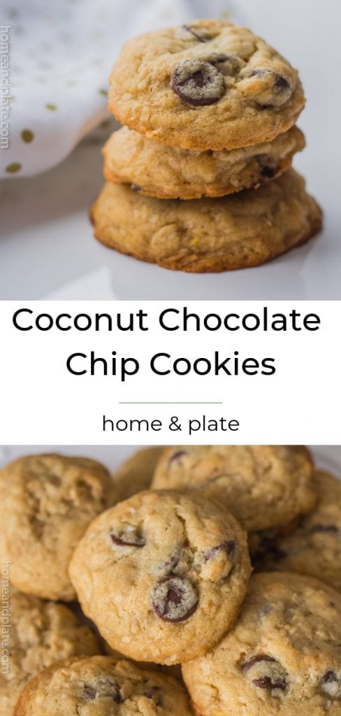 Coconut Chocolate Chip Cookies feature toasted flakes of coconut for a chewy and soft bite everytime.