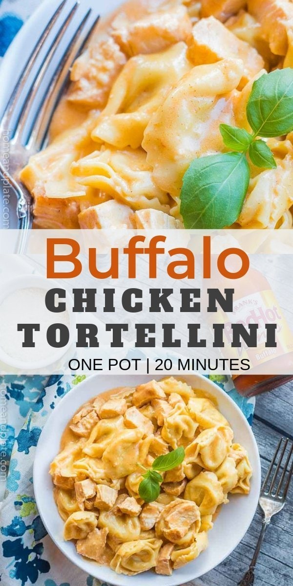 Buffalo Chicken Tortellini | Enjoy cheesy tortellini with tender chicken in a spicy buffalo Alfredo sauce in this easy one pot dinner.