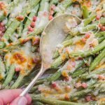 closeup view of cheesy green beans