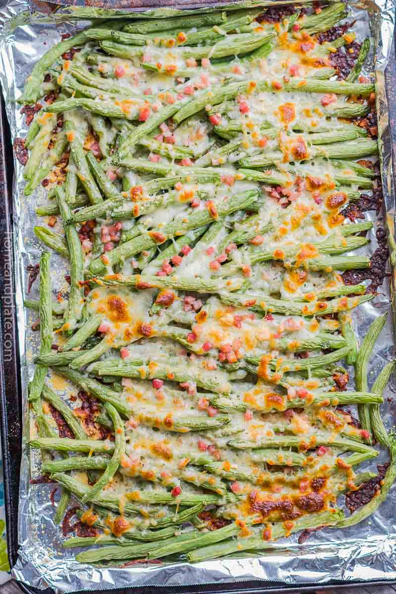 Overhead view of cheesy green beans