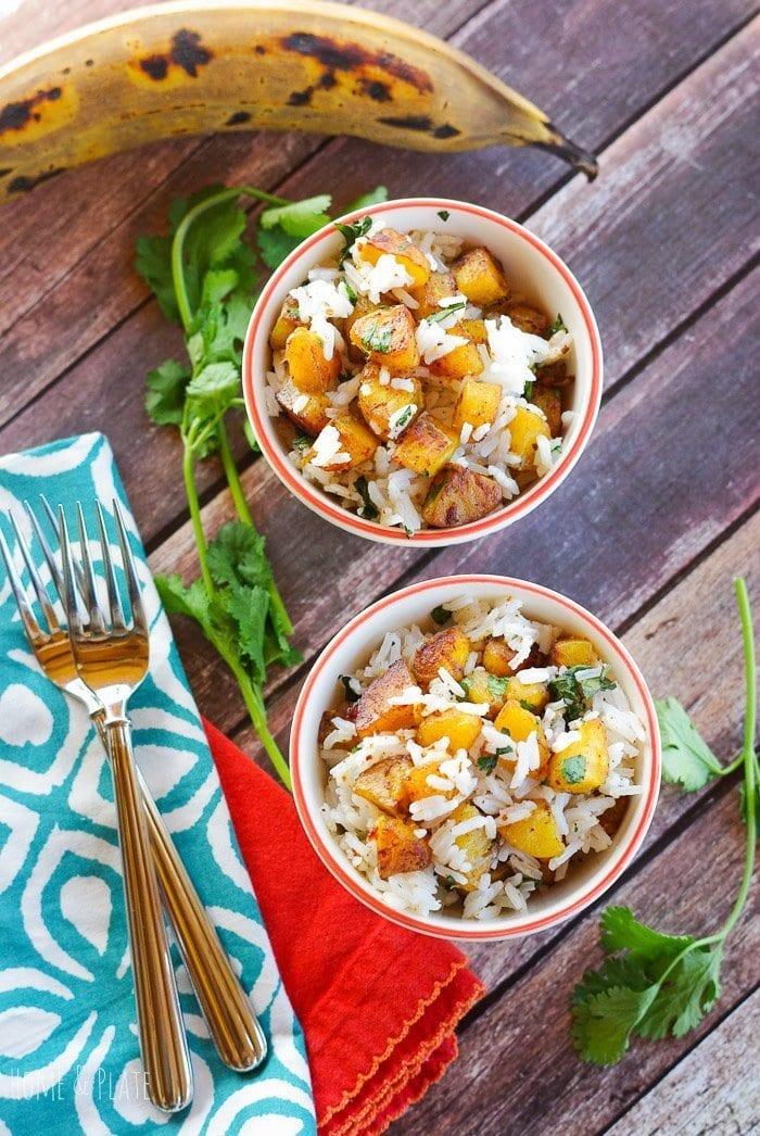 Jasmine Rice with Plantains & Cilantro