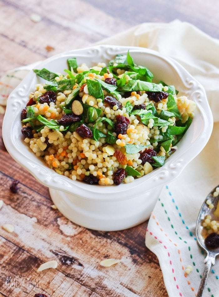 Pearl Couscous with Cherries and Spinach