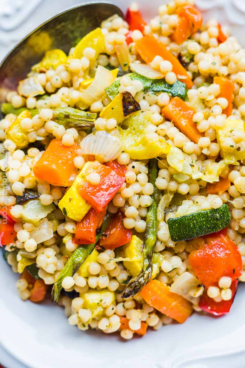 Closeup of couscous with roasted vegetables