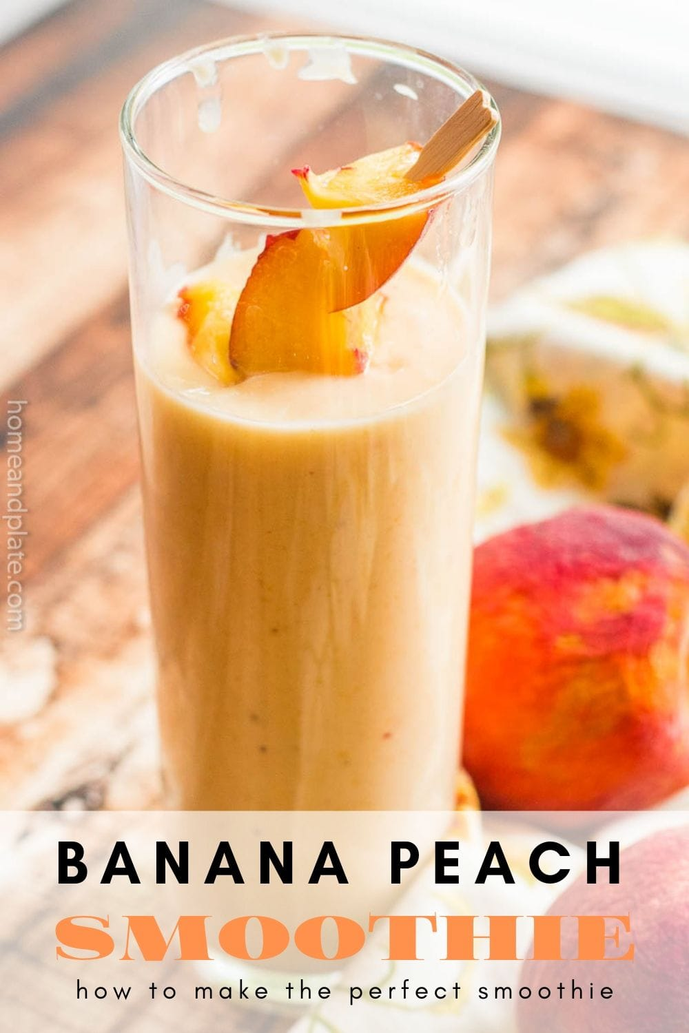 This delicious banana peach smoothie is made with fresh picked peaches and blended with green yogurt and ginger for a great way to start the morning.