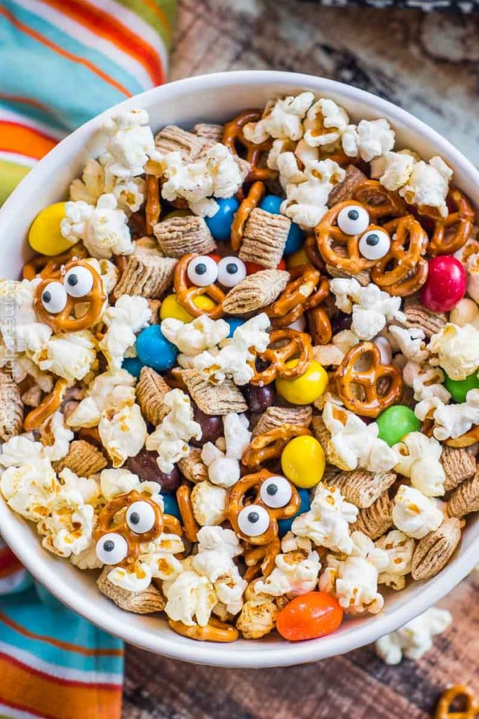 White bowl with Halloween snack mix