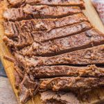 Baked beef brisket sliced across the grain