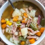 Bowl of ham and vegetable soup